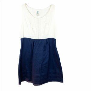 Maeve Anthro Smocked Linen Ivory Navy Dress 12